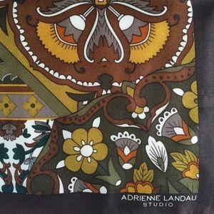 Vtg Adrienne Landau silk signed long floral scarf
